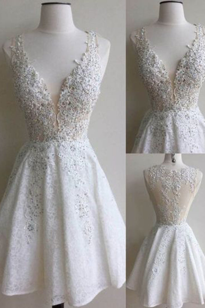 White lace V-neck sequins A-line short prom dresses graduation dress ...