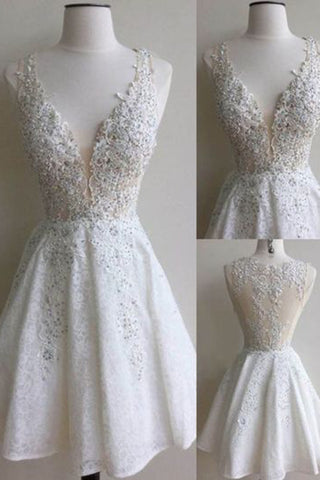 Prom 2020 | White lace  V-neck sequins  A-line short prom dresses graduation dress for teens with straps
