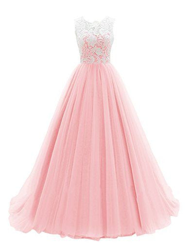 2018 evening gowns - Pink chiffon lace see-through round neck A-line full-length ball gown dresses for teens