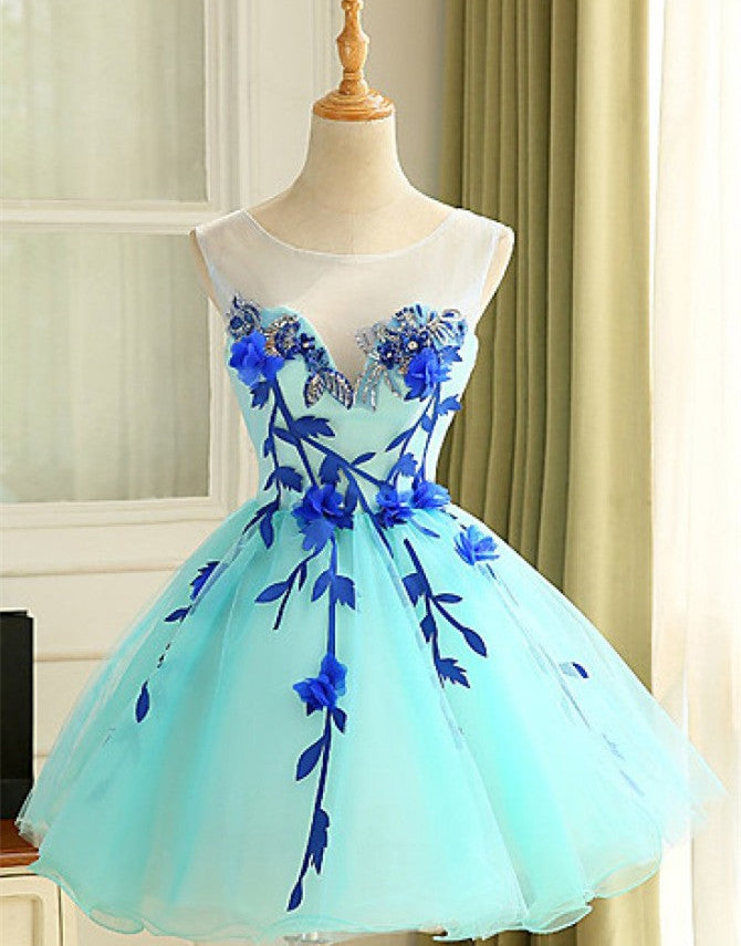 b5fd18ae4da2 2018 evening gowns - Light blue organza handmade flowers A-line short party  dress