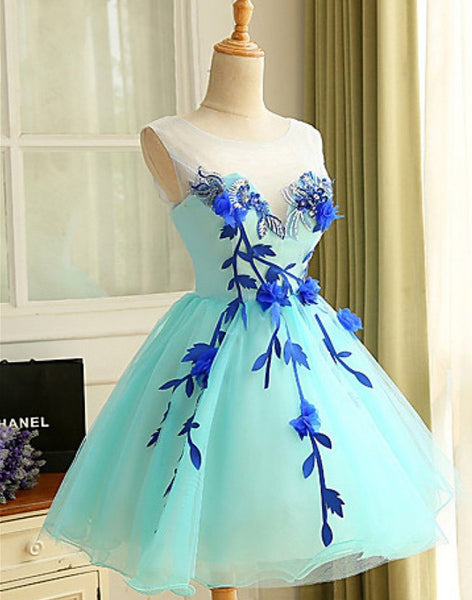 Light blue organza handmade flowers A-line short party dress , mini casual dresses for teens - occasion dresses by Sweetheartgirls