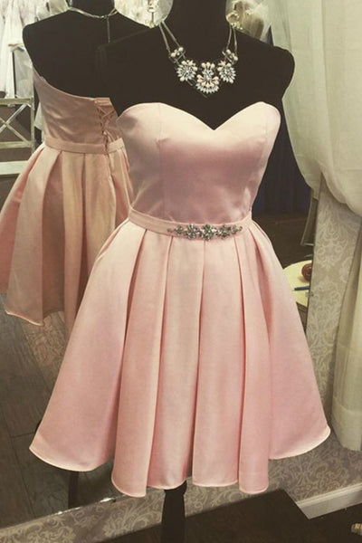 Pink chiffon satins sweetheart beading A-line short dresses,casual dresses for teens - occasion dresses by Sweetheartgirls