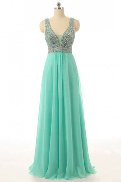 Green chiffon sequins rhinestoneV-neck full-length prom dresses, evening dresses with straps - Sweetheartgirls