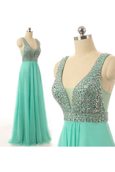 Prom 2020 | Green chiffon sequins rhinestoneV-neck full-length prom dresses, evening dresses with straps
