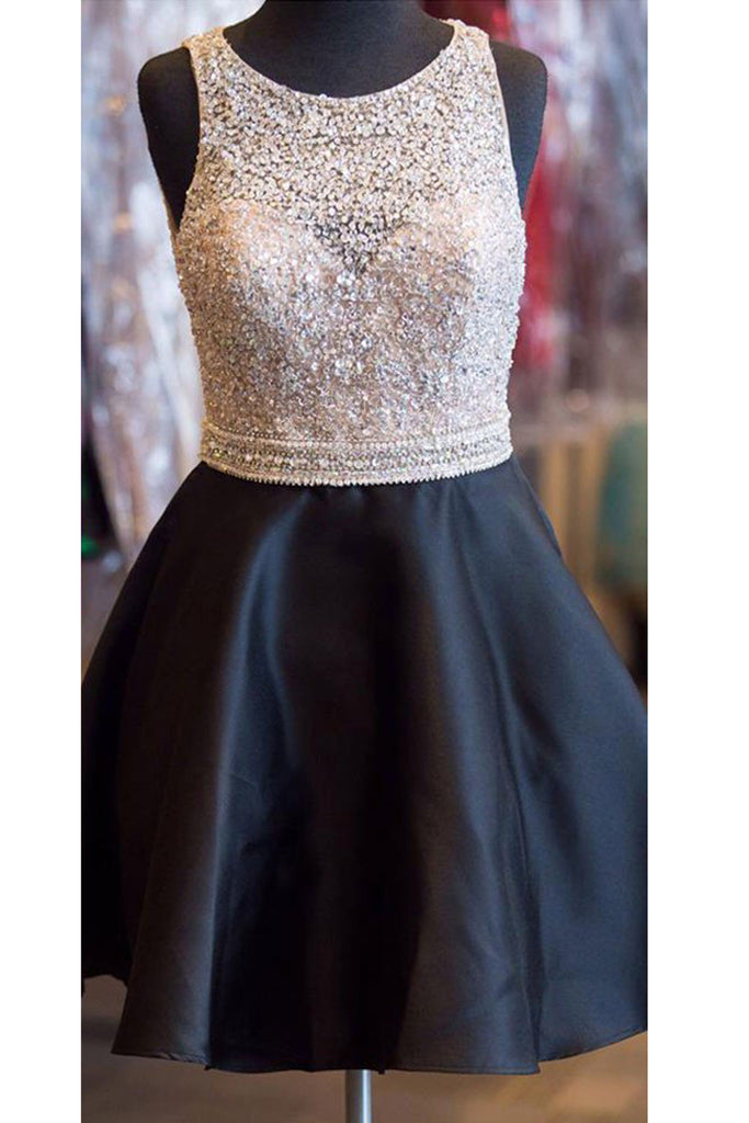 Black satins sequins round neck A-line short formal dresses for teens,princess dresses - occasion dresses by Sweetheartgirls