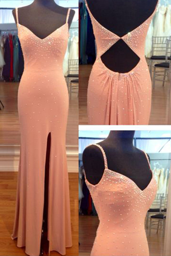 Light orange chiffon V-neck long prom dresses for teens with straps,evening dresses - Sweetheartgirls