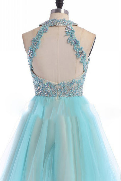 Prom 2020 | Light blue tulle A-line lace sequins halter open back short dresses,cute teenagers dresses