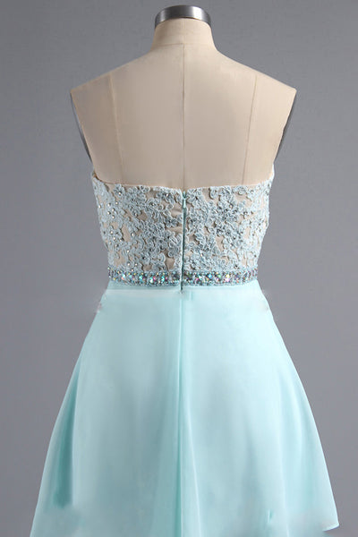 Light blue chiffon sweetheart lace top simple short dress,short formal dresses - occasion dresses by Sweetheartgirls