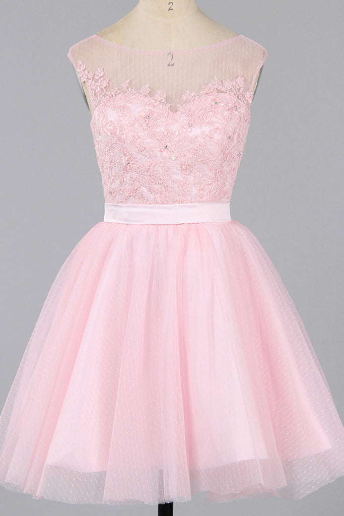 Prom 2020 | Pink tulle round neck lace applique short A-line cheap prom dresses ,simple party dress for teens