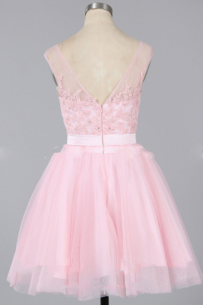 Pink tulle round neck lace applique short A-line cheap prom dresses ...