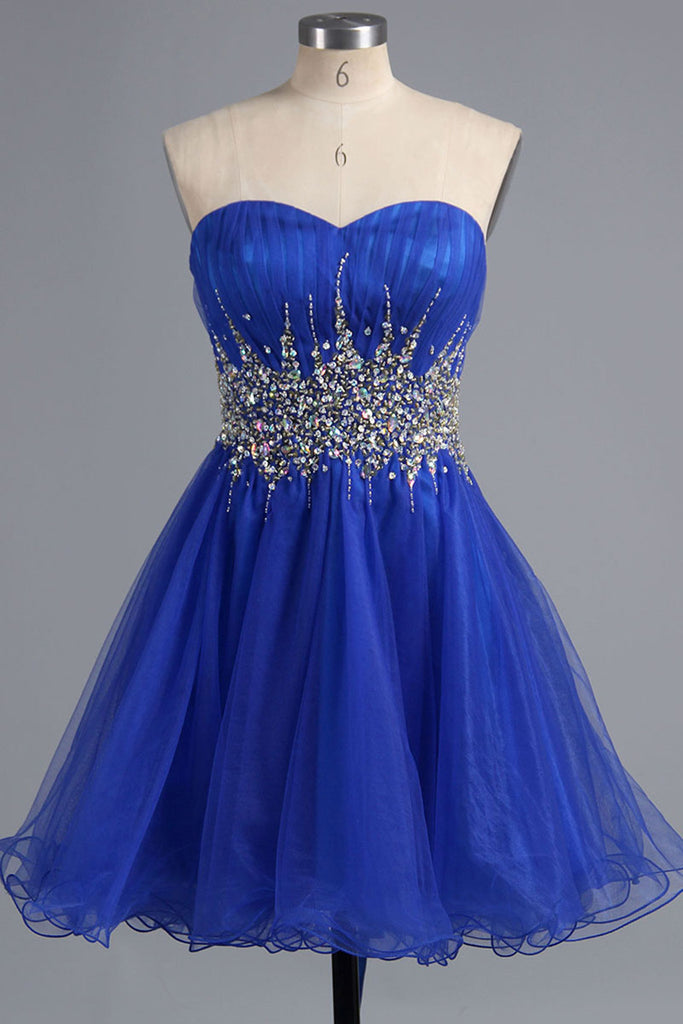 Prom 2020 | Navy blue organza sweetheart rhinestone beading short dress,short formal dresses