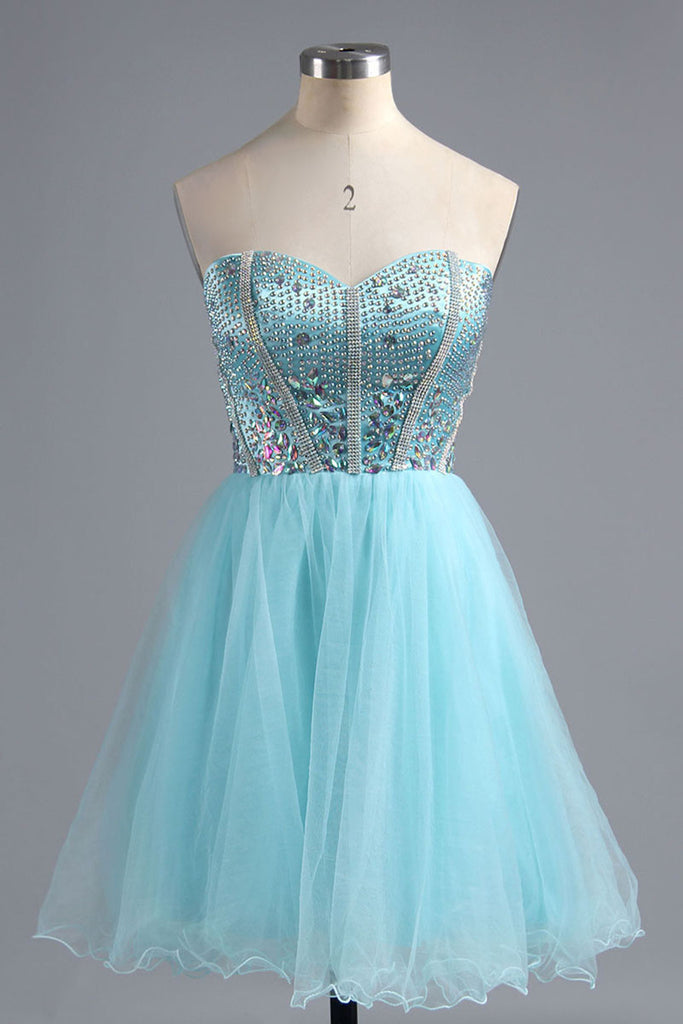 5ed53346ef 2018 evening gowns - Light blue organza beading sweetheart A-line simple short  prom dresses
