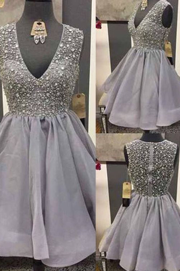 Prom 2020 | Gray chiffon V-neck A-line sequins short evening dresses,simple prom dress for teenagers