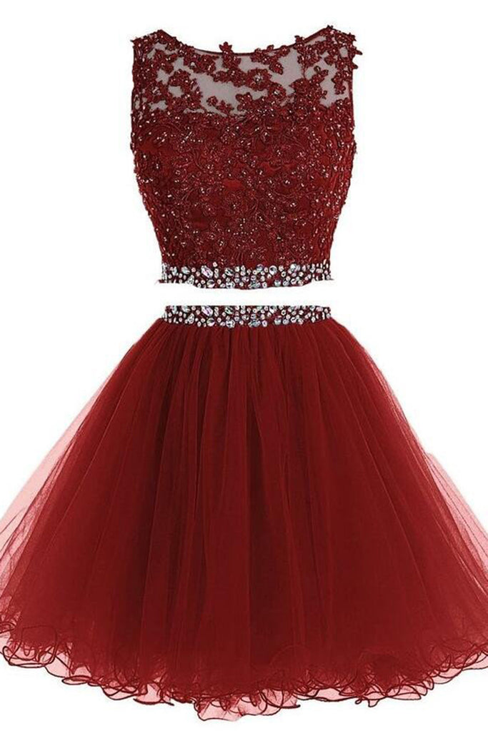 45ad1cbfd79 Red organza two pieces round neck open back sequins short dresses ...