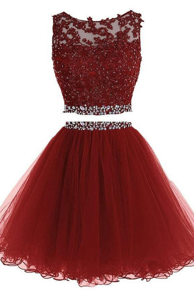 Prom 2020 | Red organza two pieces round neck open back sequins short dresses,simple prom dress for teenagers