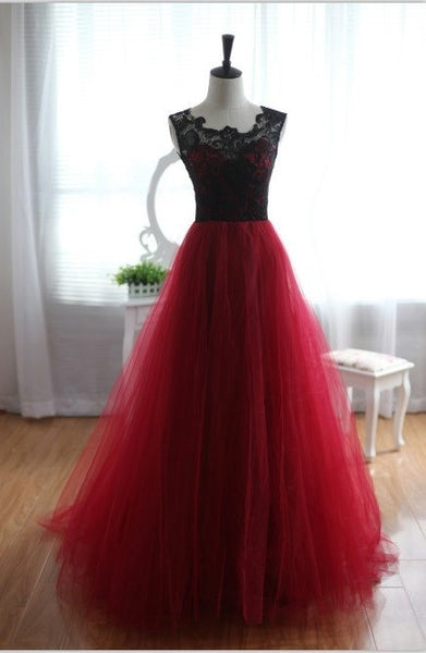 Red tulle black lace round neck floor length ball gown dresses,formal dresses - occasion dresses by Sweetheartgirls