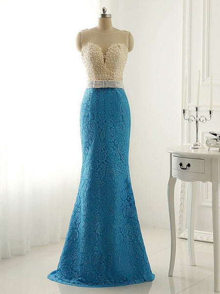 Prom 2020 | Royal blue lace see-through round neck slim mermaid long evening dresses,formal dresses