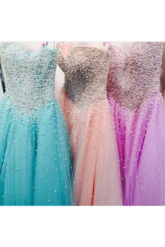 Beauty organza sweetheart beading pearl A-line long prom dresses, graduation dresses for teens - occasion dresses by Sweetheartgirls