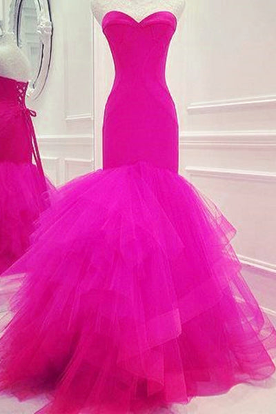 Prom 2020 | Rosy organza sweetheart mermaid long prom dresses for teens ,evening dresses