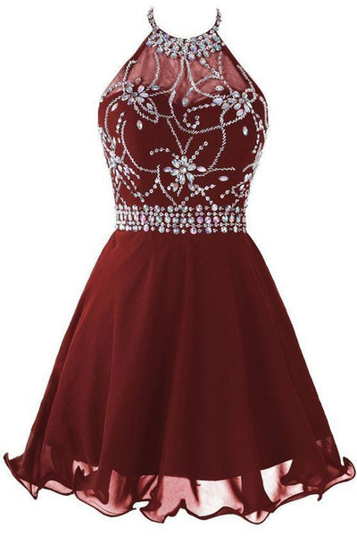 Wine chiffon halter rhinestone beading backless short evening dresses,simple prom dress for teenagers - Sweetheartgirls