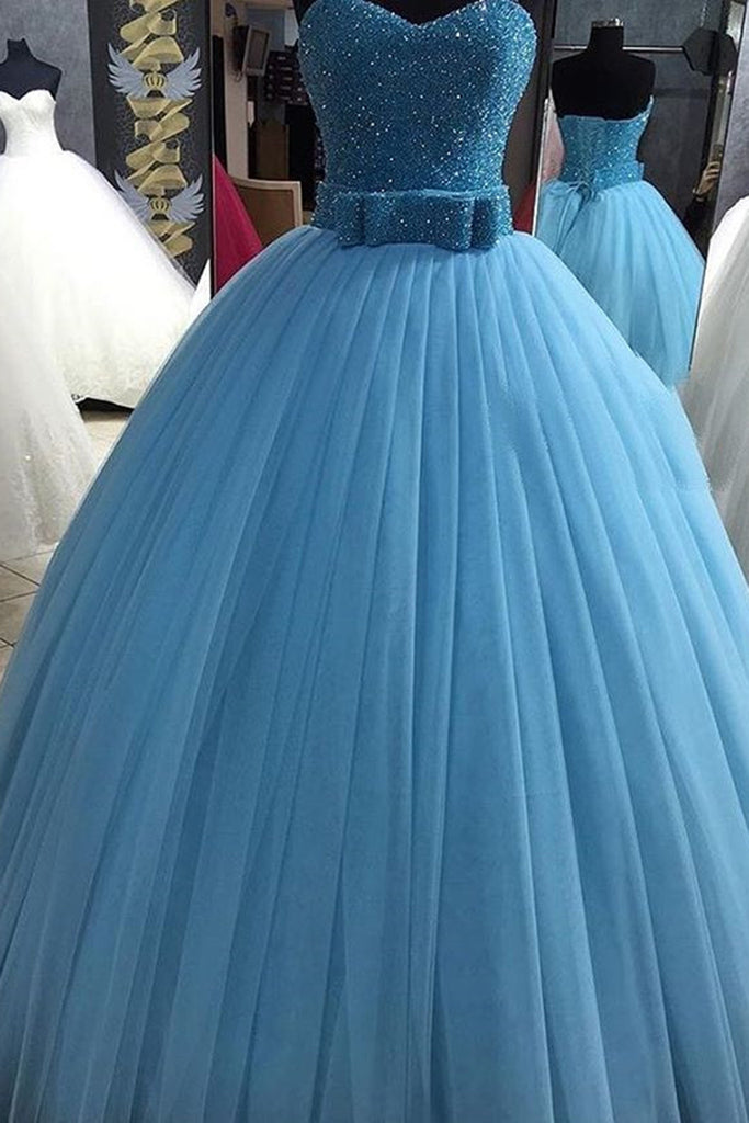 Cute blue organza sweetheart beading sequins A-line long ball gown ...