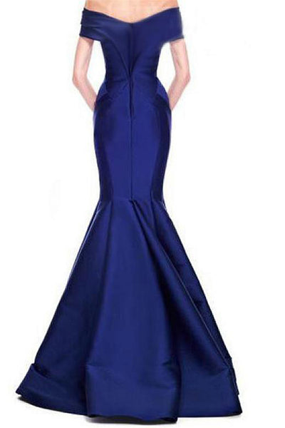 2018 evening gowns - Royal blue satins V-neck off-shoulder mermaid long evening dresses,junoesque prom dresses