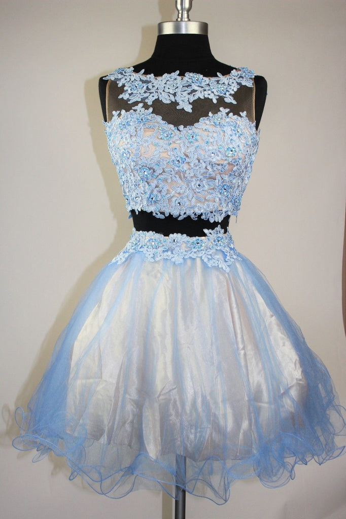 2018 evening gowns - Light blue organza lace applique two pieces A-line short dresses,casual dresses
