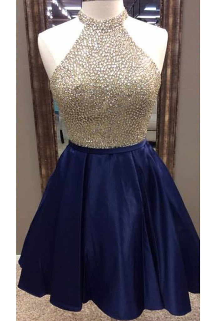 Dark blue satins beading sequins halter A-line short prom dresses ...