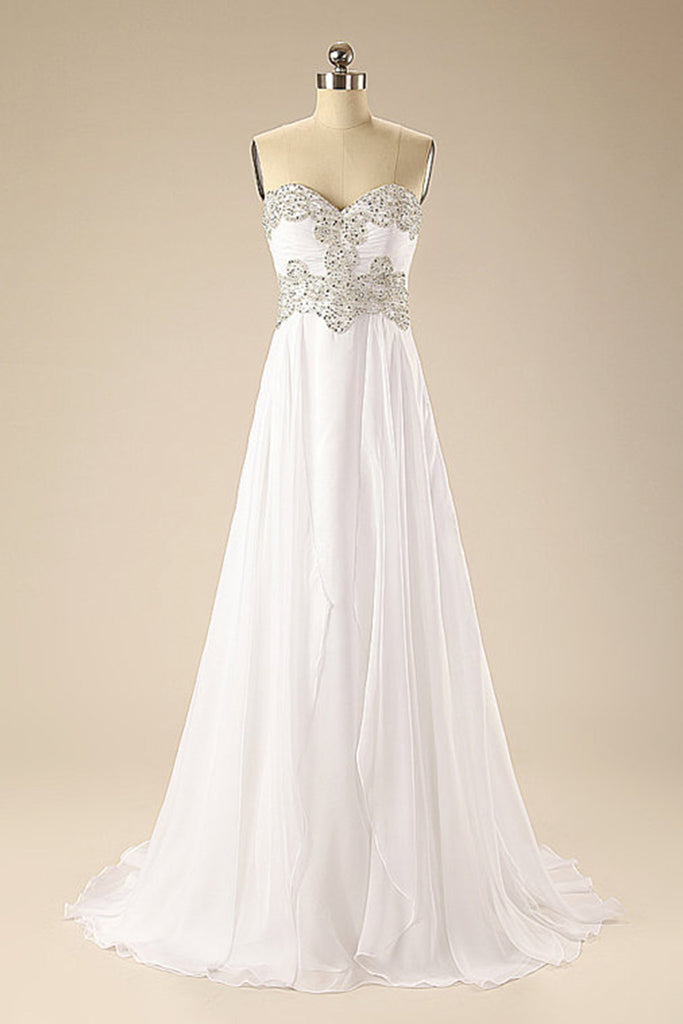 White chiffon sweetheart sequins applique simple long prom dresses ...