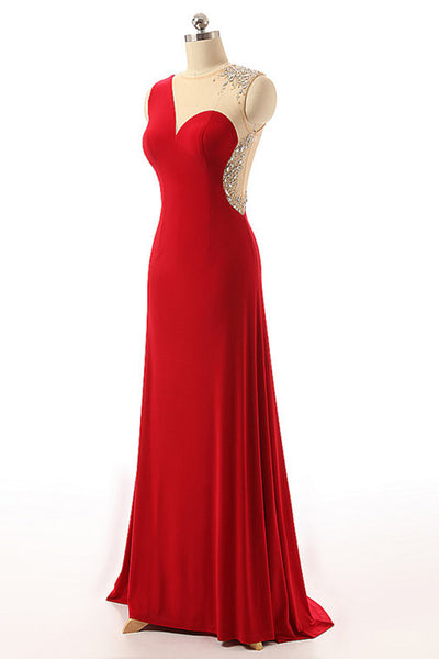 Red chiffon see-through beading A-line simple long evening dresses for teens - prom dresses 2018
