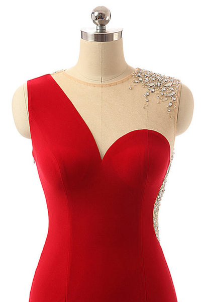 Red chiffon see-through beading A-line simple long evening dresses for teens - Sweetheartgirls