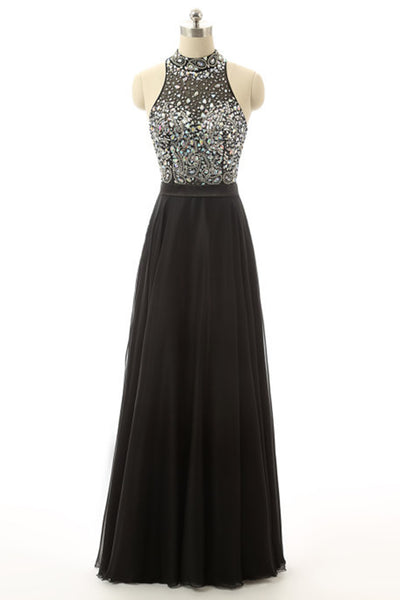 Prom 2020 | Black chiffon see-through rhinestone beading  A-line halter long evening dress