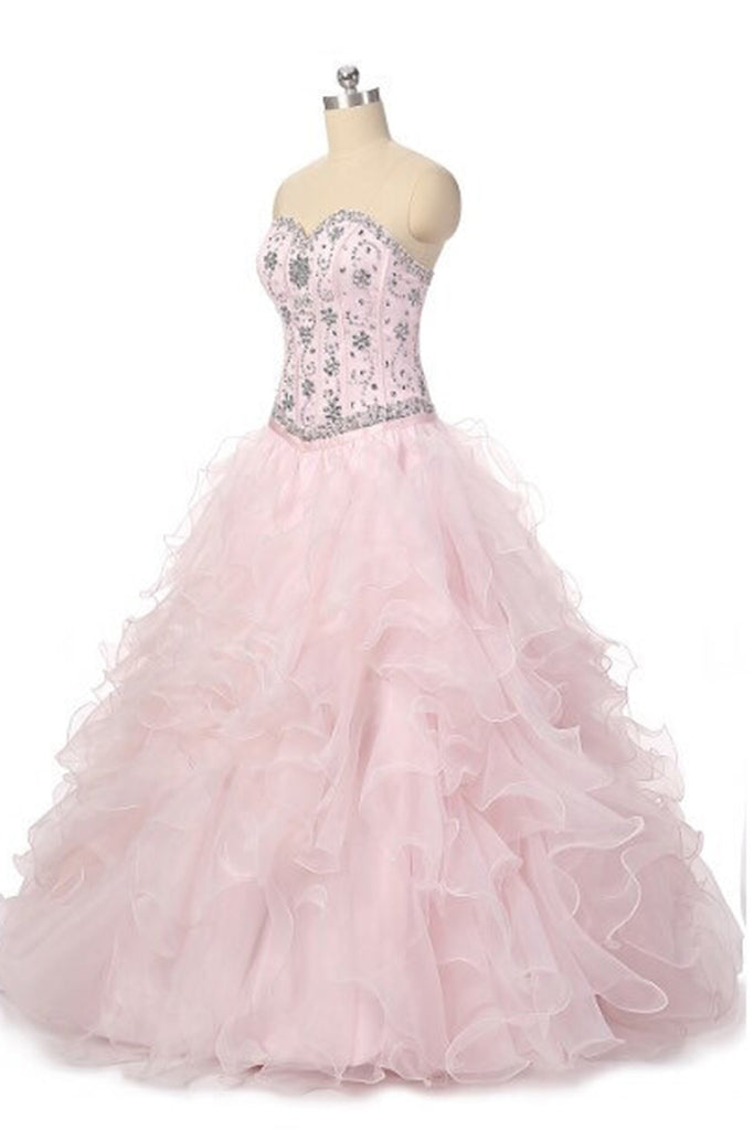 Princess pink organza sweetheart beading rhinestone A-line long prom dresses - occasion dresses by Sweetheartgirls