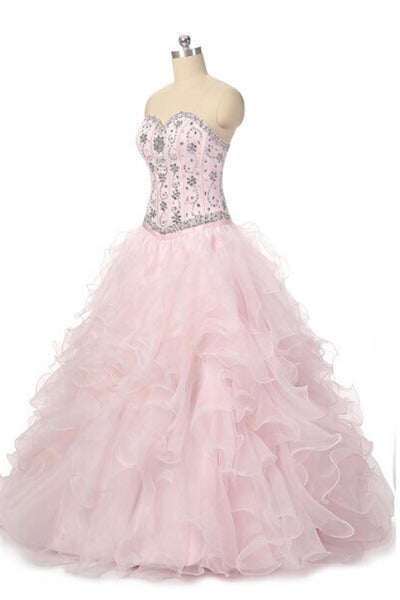 2018 evening gowns - Princess pink organza sweetheart beading rhinestone A-line long prom dresses