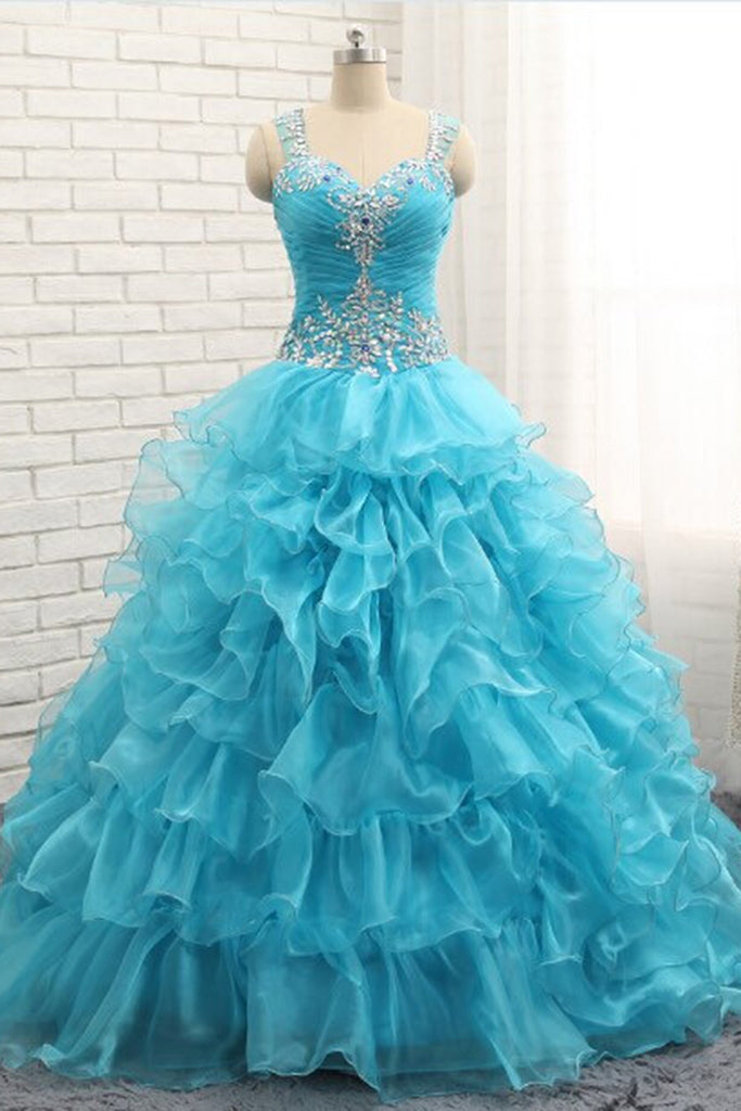 Prom 2020 | Princess blue organza beading rhinestone A-line long prom dresses with straps