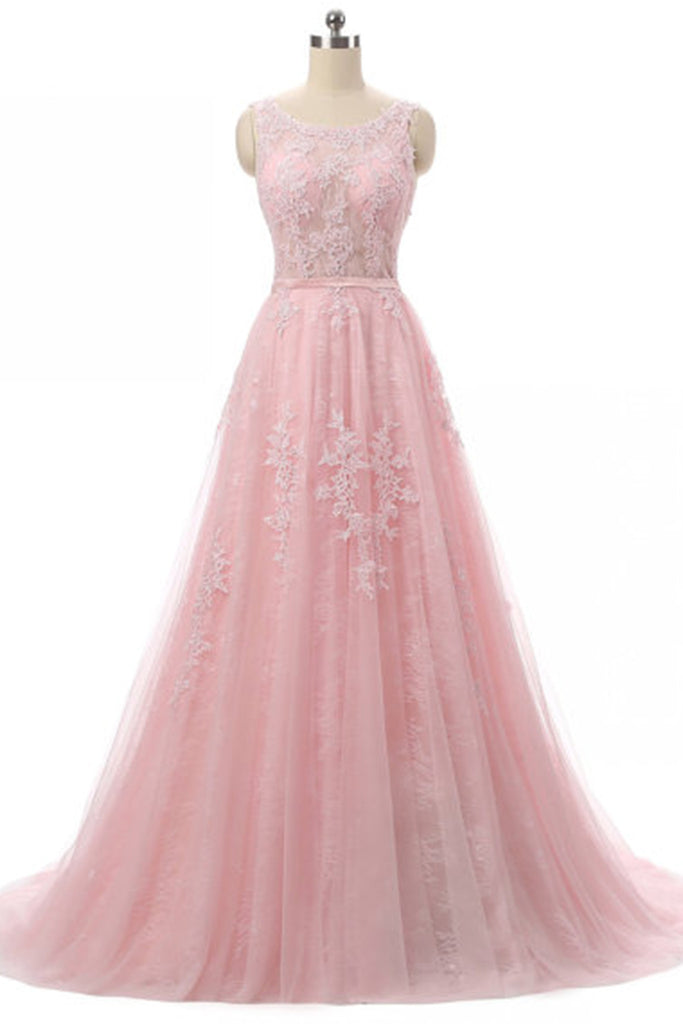 Prom 2020 | Pink lace tulle round neck applique open back  A-line  long evening dresses for teens