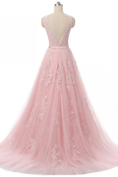 Sweet 16 Dresses | Pink tulle round neck applique A-line long evening dresses ,open back long prom dress