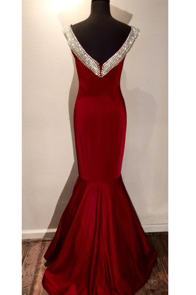 Red chiffon sequins V-neck open back mermaid long prom dresses ,luxury evening dresses - prom dresses 2018