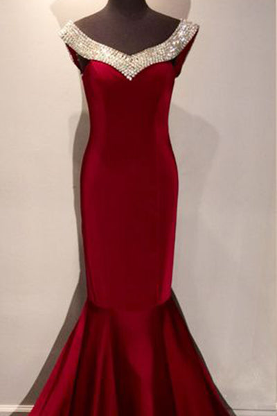 Prom 2020 | Red chiffon sequins V-neck open back mermaid long prom dresses ,luxury evening dresses