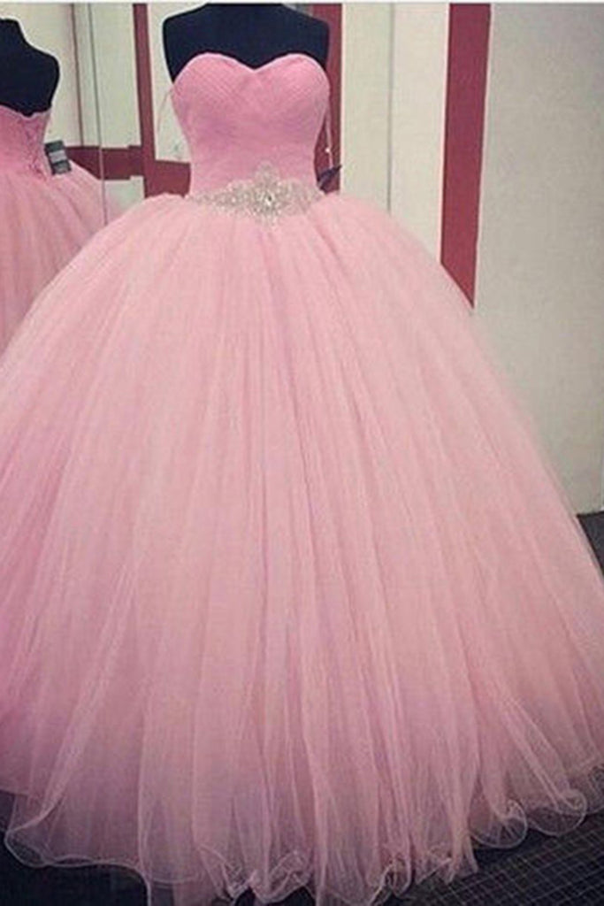 Princess pink organza sweetheart beading sequins A-line long prom dresses,ball gown dress - Sweetheartgirls