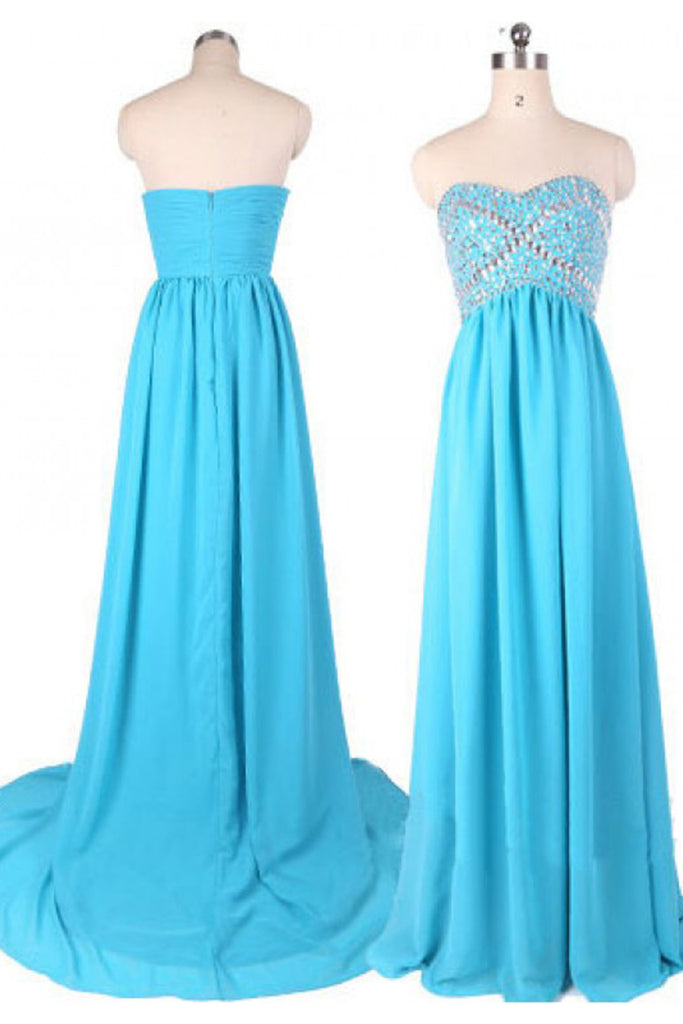 Blue chiffon sweetheart beading floor-length  A-line  long evening dresses for teens - prom dresses 2018