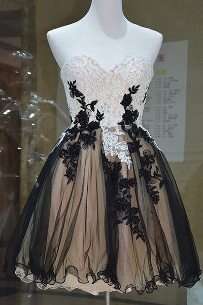 Black organza lace applique sweetheart A-line short dresses,casual dresses - prom dresses 2018