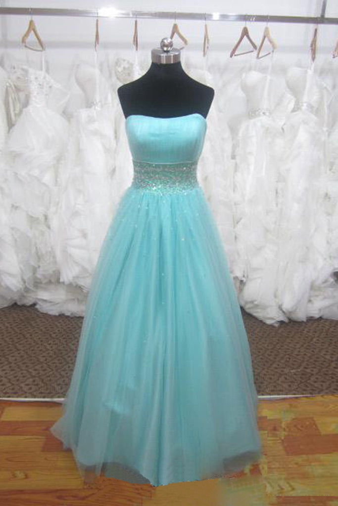 Prom 2020 | Light blue tulle sweetheart sequins beading A-line princess long prom dresses