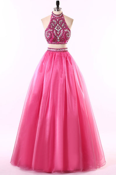 Hot pink tulle two pieces beading rhinestone A-line long prom dresses  ,shining evening dresses - Sweetheartgirls