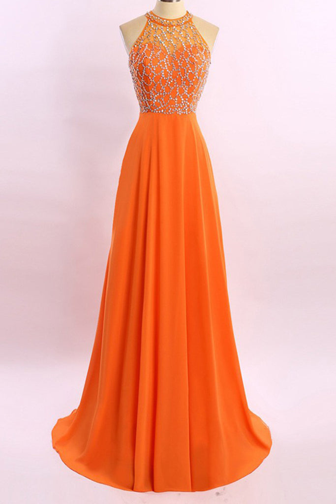 Prom 2020 | Orange chiffon see-through beading rhinestone A-line long prom dresses  ,shining evening dresses