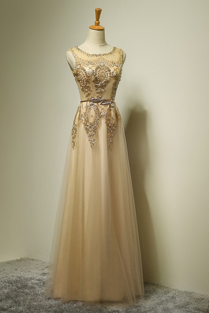 Light champagne tulle A-line applique beading formal long dress  ,evening dresses with straps - occasion dresses by Sweetheartgirls