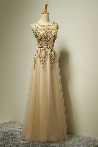 Prom 2020 | Light champagne tulle A-line applique beading formal long dress  ,evening dresses with straps