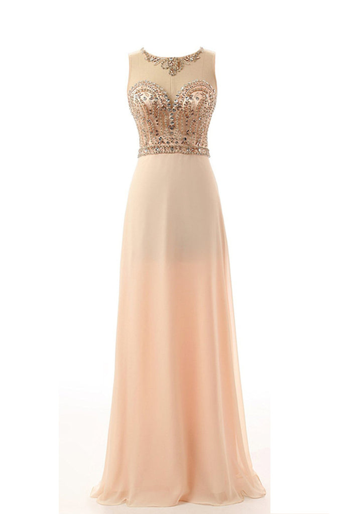 Light gold chiffon sequins round neck A-line long prom dresses  ,formal dresses - occasion dresses by Sweetheartgirls