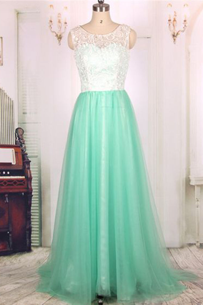 Light green tulle lace round neck A-line simple long prom dresses, evening dresses for graduation - prom dresses 2018