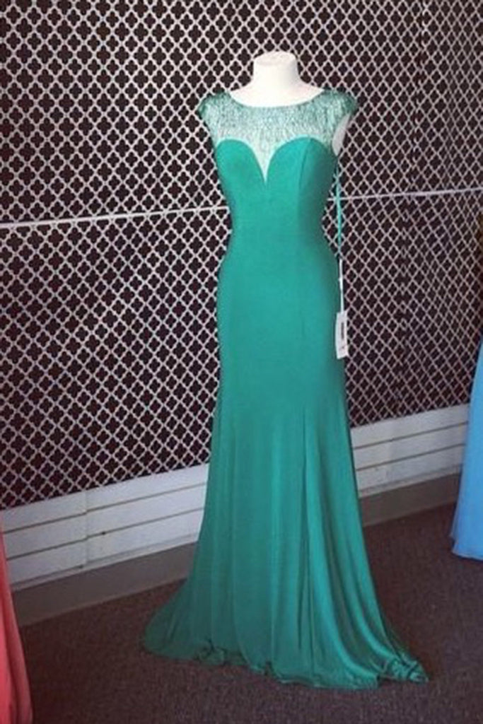Green chiffon see-through slim-line round neck simple long dress  ,evening dresses - occasion dresses by Sweetheartgirls